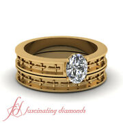 .45 Ct Yellow Gold Wedding Ring Set With Oval Shaped Real Diamond Engraved Cross