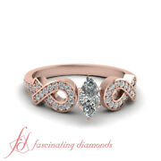 Pave Set 3/4 Carat Marquise Cut Natural Diamond Engagement Ring In 14k Rose Gold