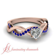 .90 Carat Heart Shaped Rose Gold Blue Sapphire Different Engagement Rings Gia