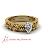 1/2 Carat Pear Shaped Untreated Diamond Coiled Design Solitaire Bridal Rings Set