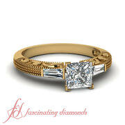 Princess Cut And Baguette Diamond Vintage Engagement Ring In Yellow Gold 0.60 Ct
