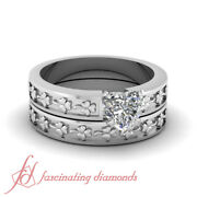 Solitaire Floral Pattern Wedding Rings Set With 3/4 Carat Heart Shaped Diamond