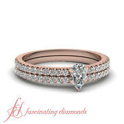 Womens Wedding Rings Thin Band Pear Shaped Diamond With Round Accents 0.85 Ct