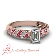 .90 Ct Pink Sapphire And Round Diamond Rope Design Ring With Emerald Cut Center