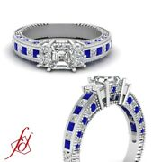 1 Ct Engraved Milgrain Style Diamond Rings With Asscher Cut And Blue Sapphire Gia
