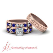 Trio Wedding Sets For Him And Her With Princess Diamond And Sapphire 1.25 Carat