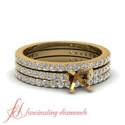 1 Ct Simple Semi Mount Engagement Ring Yellow Gold With Matching Wedding Bands