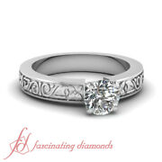 Vintage Engraved Solitaire Engagement Ring With Center Round Cut Diamond 0.60 Ct