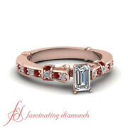 14k Rose Gold 3/4 Ct Emerald Cut Diamond And Ruby Engagement Rings For Women Gia