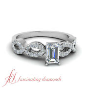 3/4 Ct Twist Engagement Rings For Women With Emerald Cut Diamond Gia Certified
