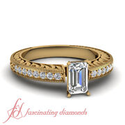 3/4 Carat Emerald Cut Vintage Style Yellow Gold Diamond Rings With Round Accents