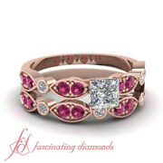 1 Ct Wedding Rings Set For Women With Princess Diamond And Pink Sapphire Gemstone