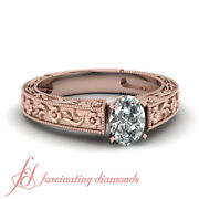 Vintage Style 3/4 Ct Oval Shaped Diamond Rings For Women Engagement Solitaire