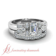 3/4 Carat Emerald Cut Diamond Antique Pave Wedding Rings Set With Round Accents