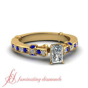 3/4 Carat Sapphire Gemstone Engagement Rings For Women With Radiant Cut Diamond