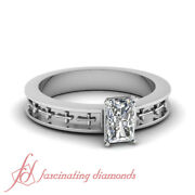 3/4 Carat Radiant Cutvery Good Diamond Vintage Solitaire Engagement Ring Gia