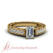Pave Set Emerald Cut Natural Diamond Rings Antique Looking For Women 0.80 Ct Gia