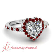 Round Red Ruby Halo Style Engagement Ring With Heart Shaped Diamond 0.90 Carat