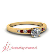 3/4 Ct Round Natural Diamond Womens Engagement Rings Channel Set With Round Ruby