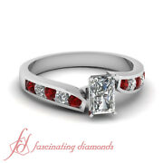 Channel Set 14k Gold Engagement Ring 0.75 Ct Radiant Cut Vvs1 Diamond And Red Ruby