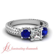 1 Carat Antique Style 3 Stone Sapphire And Diamond Engagement Rings Certified