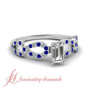 1 Carat Emerald Cut Si2 Diamond Womens Engagement Rings With Round Blue Sapphire