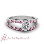 .90 Ct Cushion Cut Diamond And Pink Sapphire Cleaved Band Pave Engagement Ring Vs1