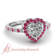 Halo Style 0.90 Ct Heart Shaped Diamond And Pink Sapphire Womens Engagement Ring