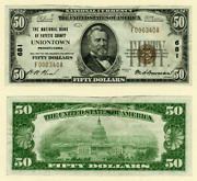Uniontown Pa 50 1929 T-1 National Bank Note Ch 681 National Bank Of Fayette Co