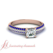 .80 Ct Asscher Cut Diamond And Gemstone Pave Set Engagement Ring 14k Rose Gold Gia