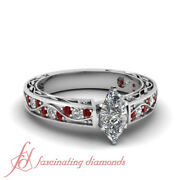 .85 Ct Marquise Cut Si1-e Color Diamond And Ruby Legacy Style Engagement Ring Gia