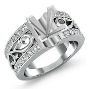 Natural Diamond Wedding Filigree Ring Platinum 950 0.55ct Princess Semi Mount