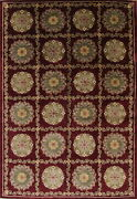 New One-of-a-kind Wine Red Aubusson Hand-knotted Oriental Area Rug Wool 10'x15'