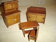 Antique Hand Made Child's Doll Furniture Dining Room Hutch 2 Pcs. 9798