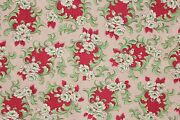 Vintage Christmas Fabric Material Red + Green 1940 To 1950and039s Floral Marignan
