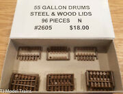 Tichy Train Group N Scale 2605 55 Gallon Drums Steel And Wood Lids 96 Pieces