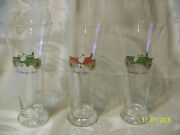 3 Vintage 7 1/2 Tall Beer Glasses With Antique Automobiles From 1965