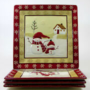St. Nicholas Square Winter Wishes 11 Dinner Plate Set 4 Snowman Snowflake House