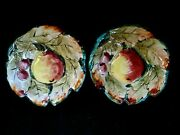 Italian Ceramic Art Pottery Two Bowls Hand Painted Pears Cherries Italy 6 1/4