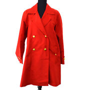 Authentic Vintage Cc Logos Long Sleeve Coat Jacket Red 38 Y02244h