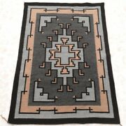 Vintage 1980s Pawn Two Grey Hills Hand Woven Wool Rug 33 X 50