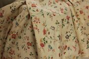 Fabric Antique French Trailing Vine And Floral Block Printed Cotton Material C1900