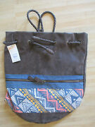 New Billabong Bag Tote Student Backpack Brown Tribal 75 Rv Faux Suede