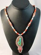 Turquoise Beaded Pendant Sterling Necklace By Algonquin Susan Shatreau-janisky