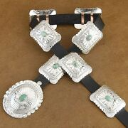 Navajo Turquoise Sterling Silver Stamped Concho Concha Belt Native American Made