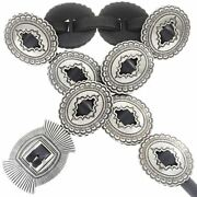 Native Navajo Santa Fe Old Pawn Style Concho Belt Hammered Sterling Silver