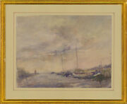 William Eyre 1891-1979 - Framed Watercolour River Scene With Barges