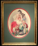 Vintage Santa Claus Toy Maker Print Gold Gilt Frame Double Matted Doll Horse