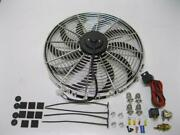 16 Chrome Electric Cooling Fan S-blade + Install Kit Relay Thermostat 3000 Cfm