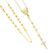 Long 14k Yellow Gold 4mm Beads Our Lady Guadalupe Rosary Necklace 26in